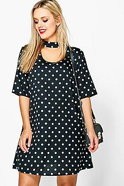 Plus Jade Spot Choker Shirt Dress