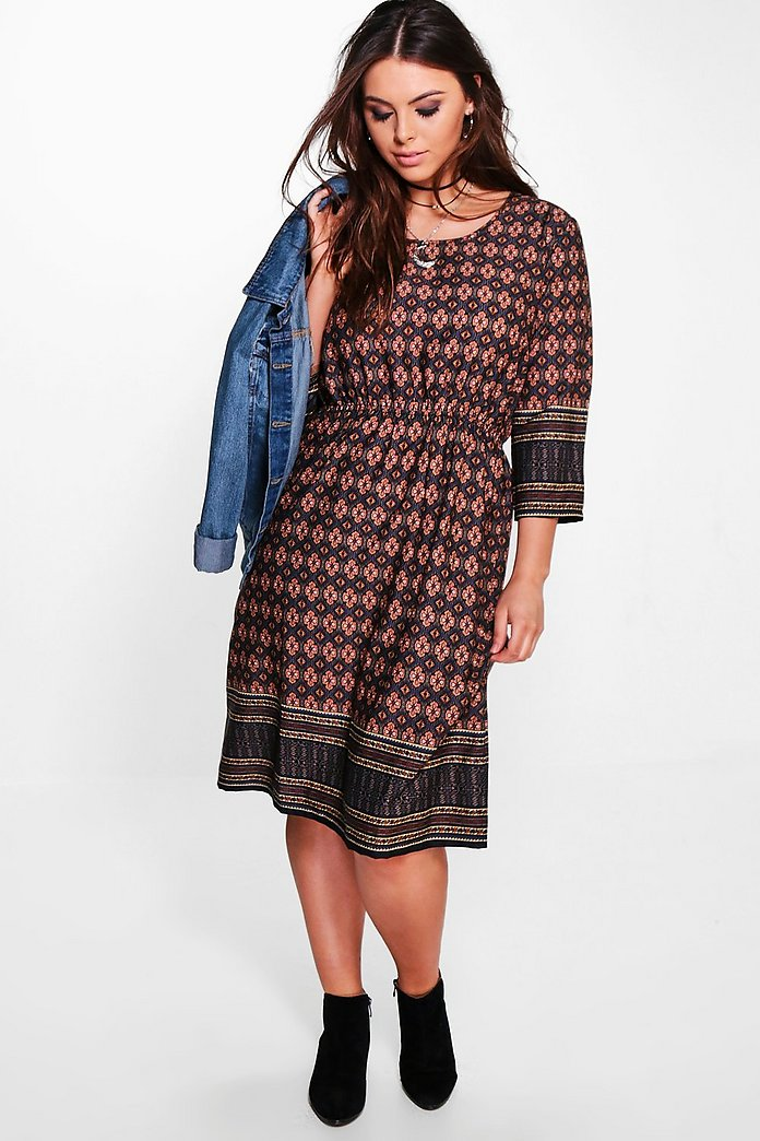 Plus Dana Printed Woven Midi Dress