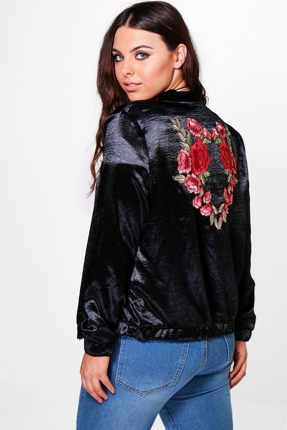 Plus Gia Embroidered Satin Bomber