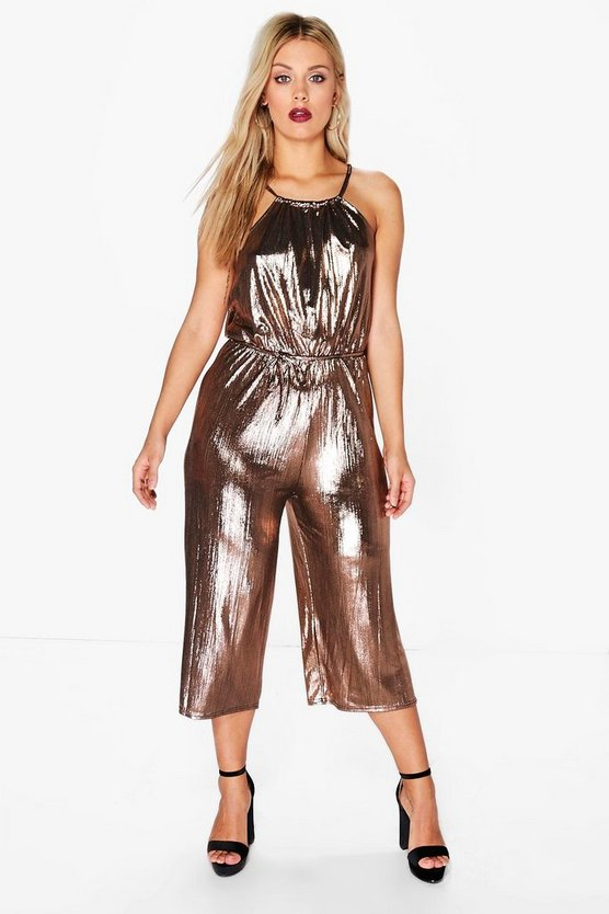 Plus Serena Metallic Culotte Jumpsuit
