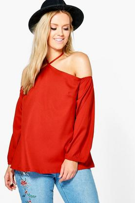 Plus Maisie Open Shoulder Woven Blouse