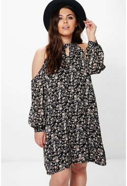 Plus Madison Floral Open Shoulder Shift Dress