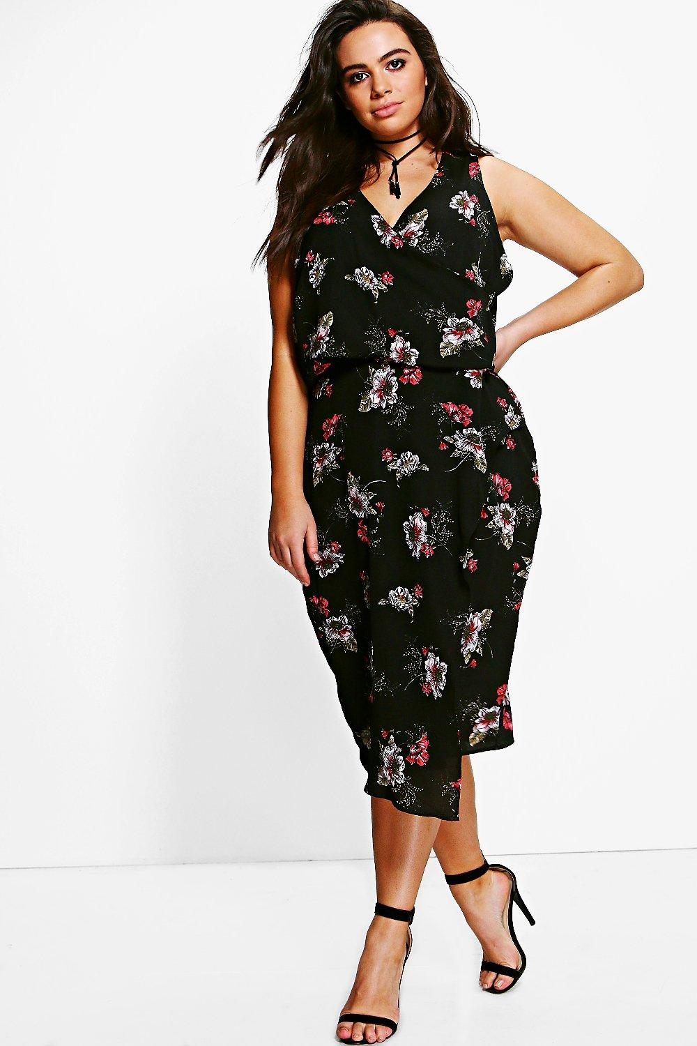 Eliza V Neck Floral Print Asymmetric Dress  black