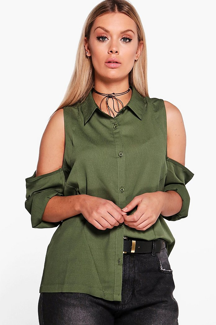 Plus Charlene Cold Shoulder Shirt