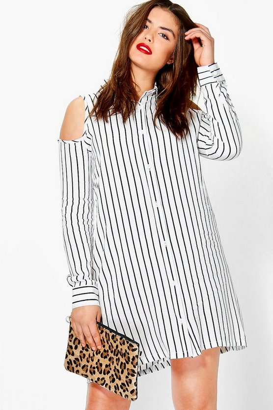Plus Hayley Cut Out Shoulder Shirt Dress