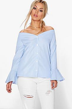 Plus Kia Striped Bardot Shirt