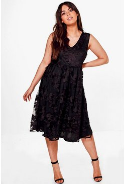 Plus Anne Embroidered Lace Midi Skater Dress
