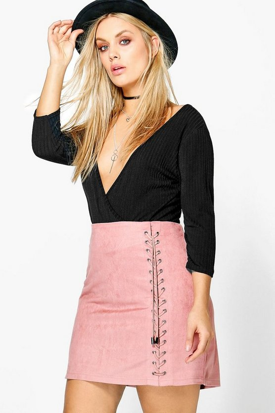 Plus Lace Up Detail Suedette Mini Skirt
