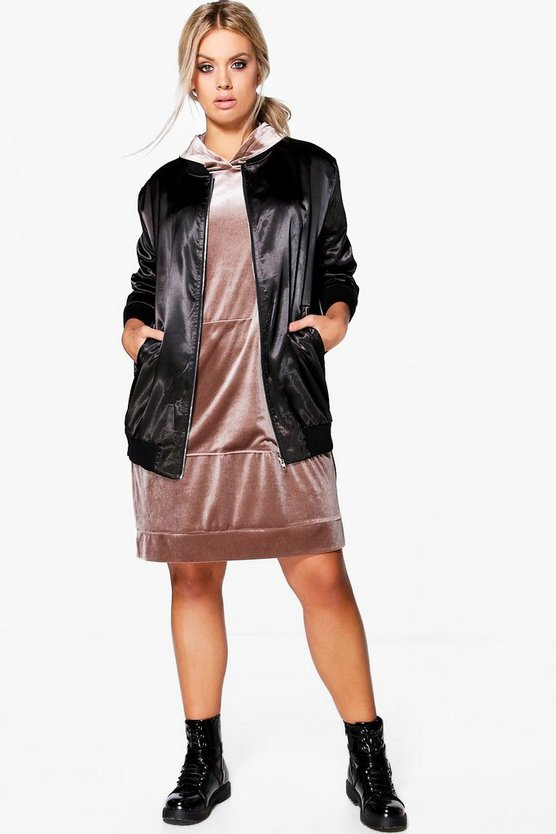 Plus Sheena Longline Satin Bomber