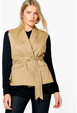 Plus Jane Sleeveless Tie Waist Utility Jacket