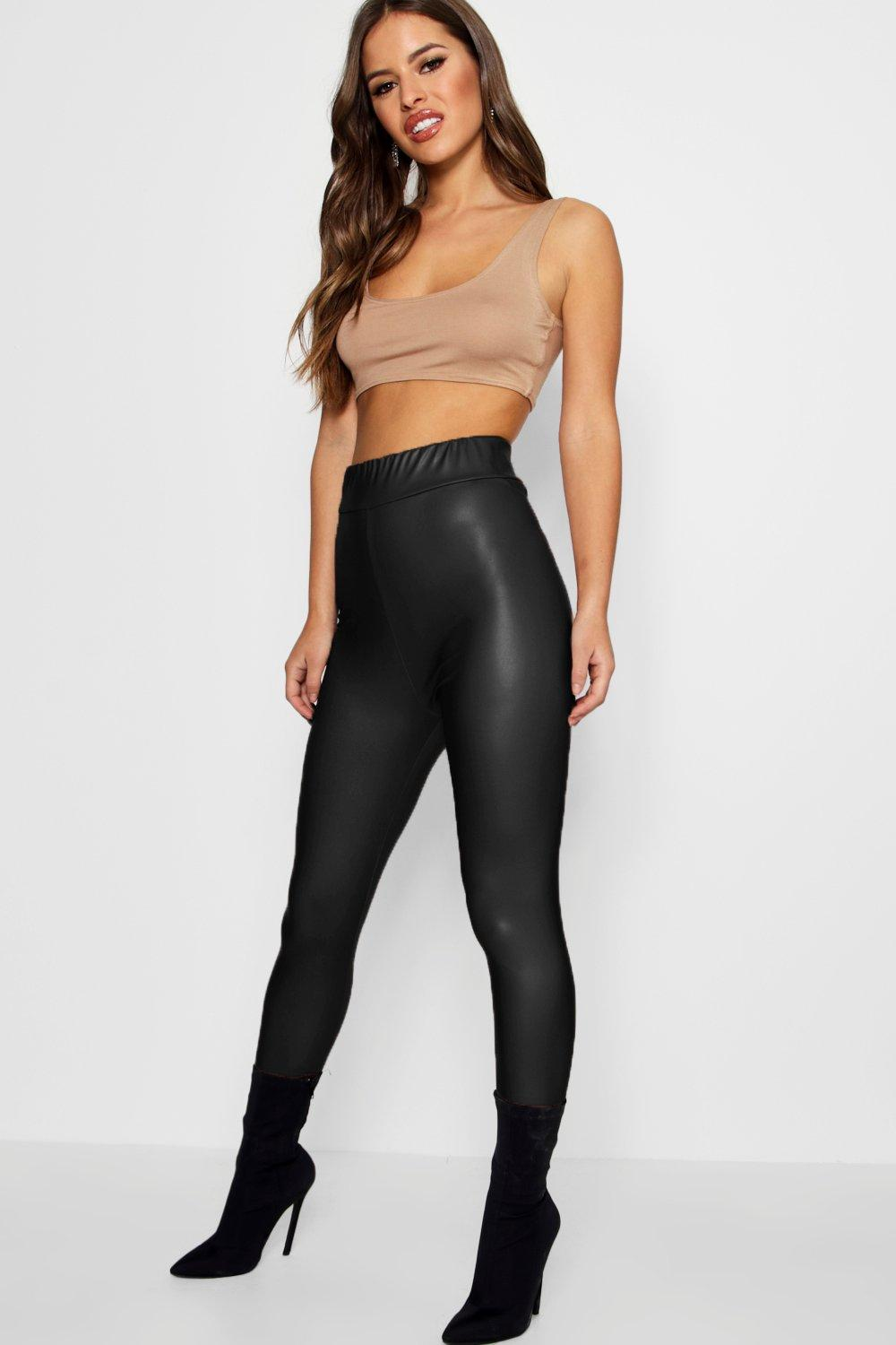 Petite Sandi Matte Leather High Waist Leggings black