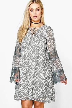 Plus Verity Ditsy Floral Print Lace Up Swing Dress