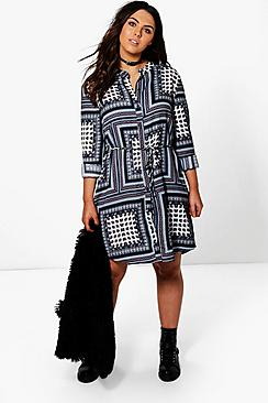 Plus Lydia Paisley Print Tie Waist Shirt Dress