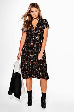 Plus Selena Plunge Floral Frill Fem Tea Dress