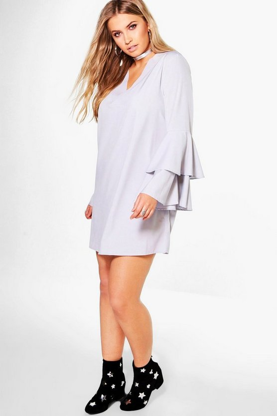 Plus Sheena Frill Sleeve V Neck Shift Dress