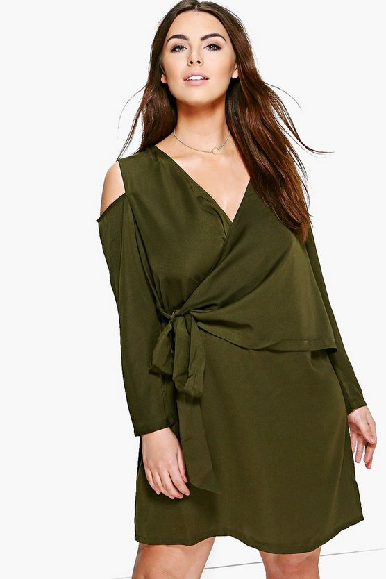 Plus Fifi Open Shoulder Woven Wrap Dress