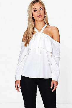 Plus Sara Ruffle Off The Shoulder Woven Blouse