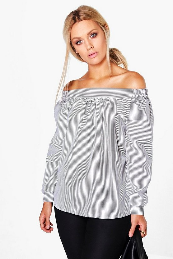 Plus Shauna Woven Stripe Off The Shoulder Top