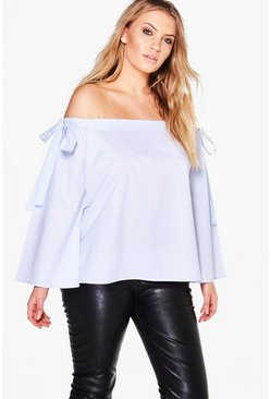 Plus Carla Off The Shoulder Siplt Sleeve Top