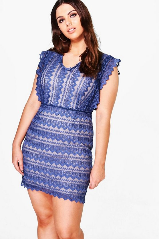 Plus Eva Embroidered Lace Premium Bodycon Dress