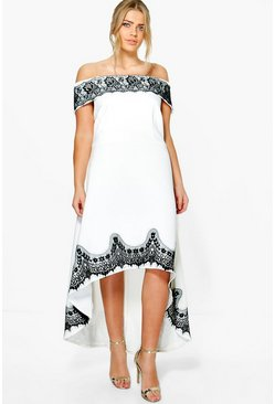 Plus Eve Off The Shoulder Lace Trim Skater Dress