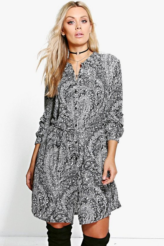 Plus Polly Printed Tie Waist Shirt Dress