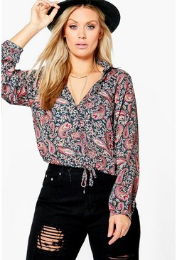 Plus Hailey Paisley Print Drawstring Hem Shirt