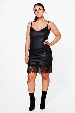 Plus Lucy Lace Trim PU Dress