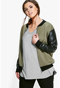 Plus Penny PU Sleeve Bomber Jacket