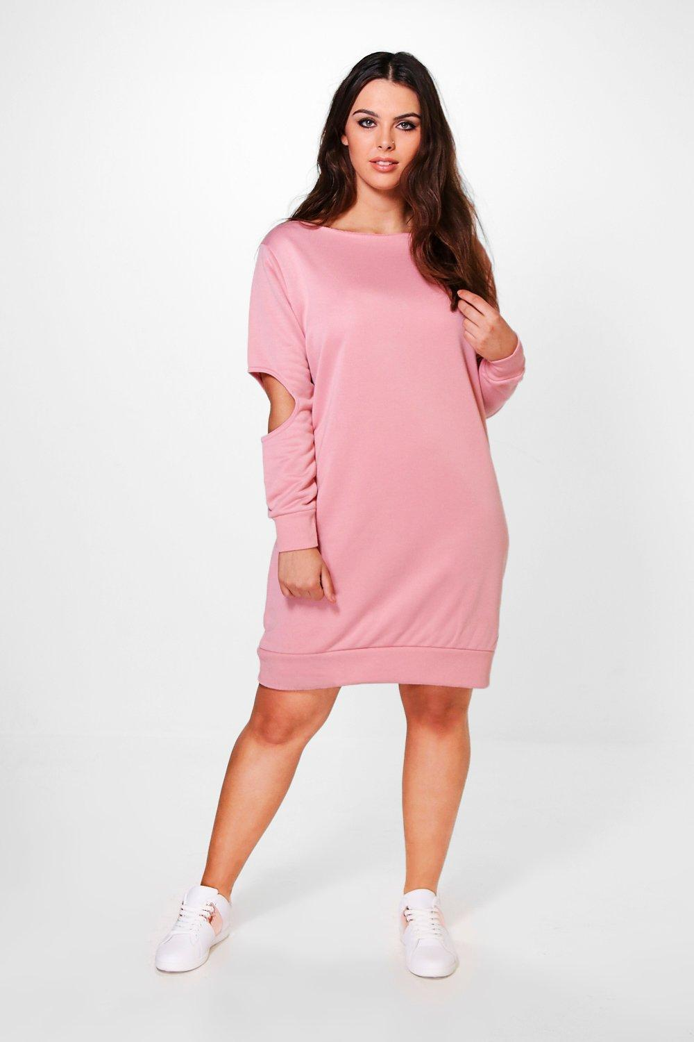 Plus Christina Elbow Detail Sweat Dress