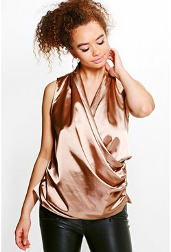 Plus Stephanie Wrap Front Satin Blouse