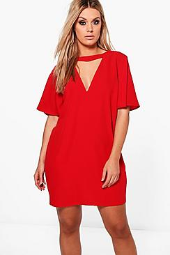Plus Ava Choker Detail Frill Sleeve Shift Dress