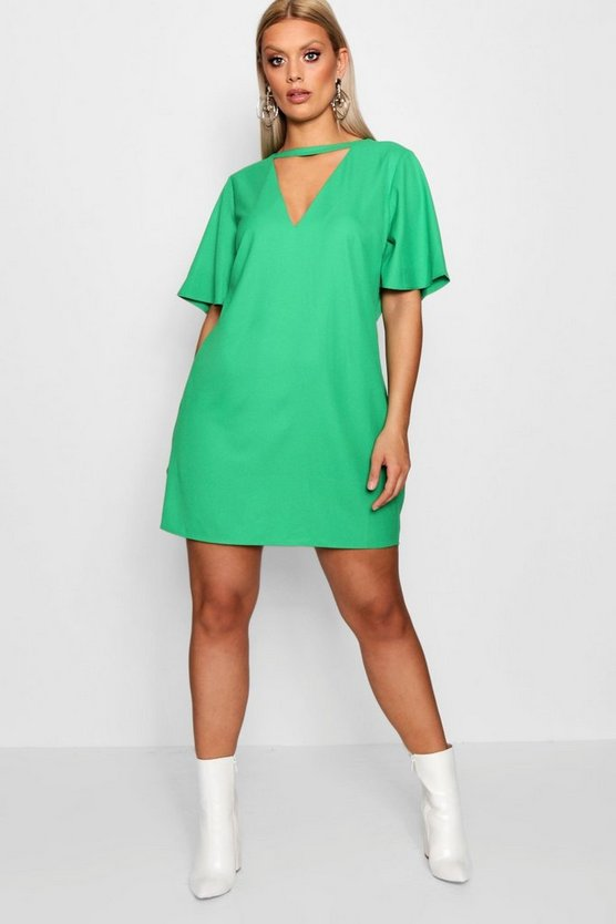 Plus Choker Detail Frill Sleeve Shift Dress