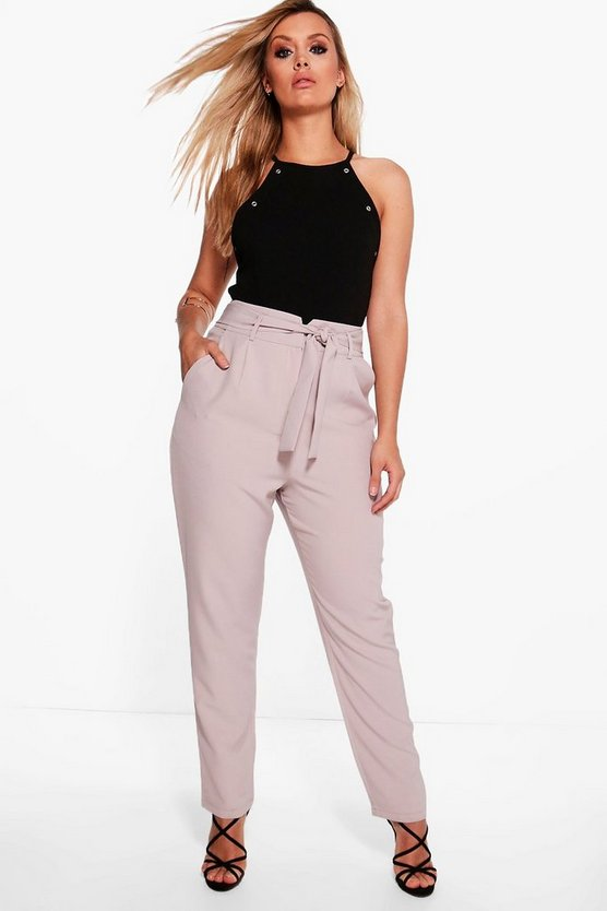Plus High Waist Tailored  Slim Fit Trouser