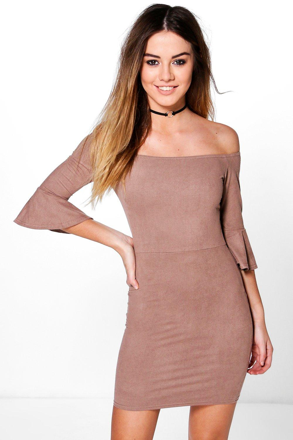 Petite Ida Suedette Frill Sleeve Bardot Mini Dress
