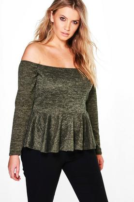Plus Esme Off The Shoulder Peplum Sweat Top