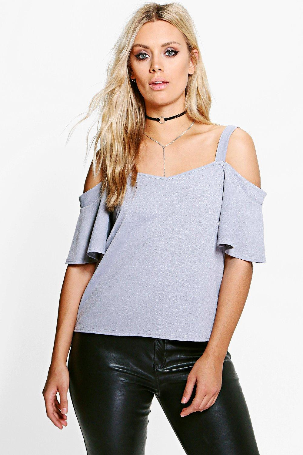 Plus Layla Crepe Ruffle Cold Shoulder Top