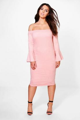 Plus Sophia Frill Sleeve Off Shoulder Mini Dress