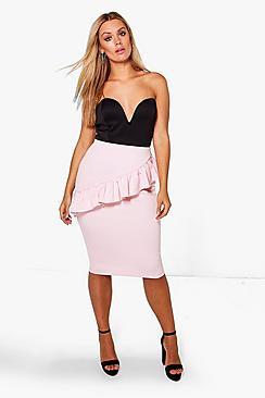 Plus Lottie Ruffle Front Pencil Skirt