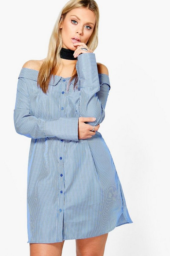 Plus Cait Off The Shoulder Shirt Dress