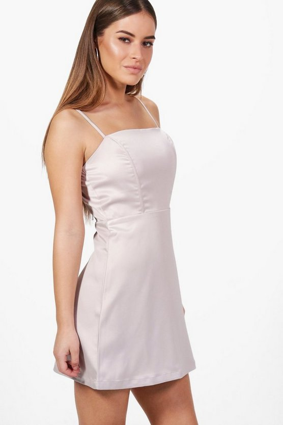 Petite Annie Satin A-Line Mini Dress