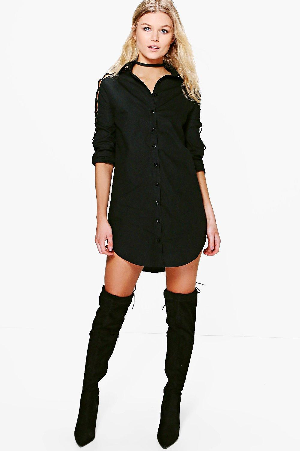 Petite Ella Lace Up Sleeve Shirt Dress