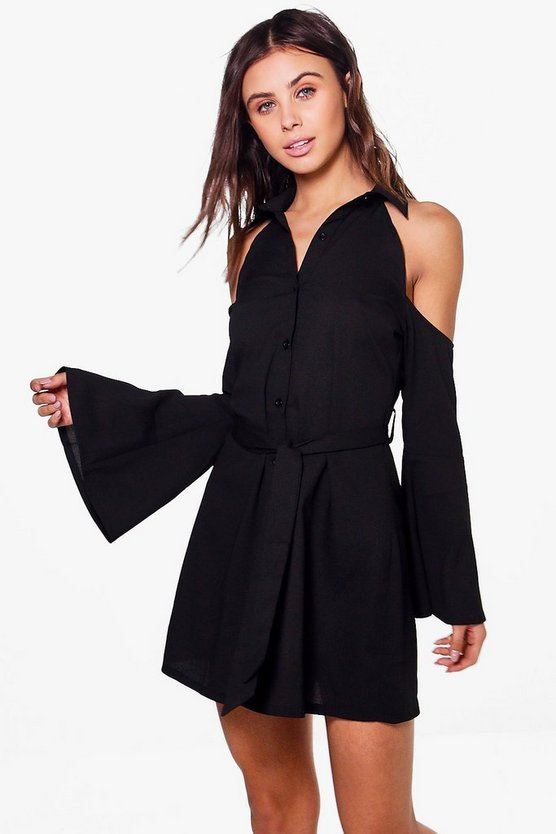 Petite Elle Cold Shoulder Tie Front Shirt Dress