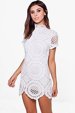 Petite Dina Crochet Lace High Neck Bodycon Dress
