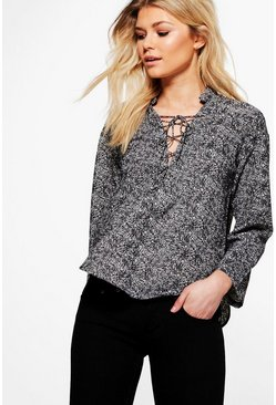 Petite Haley Printed Lace Up Shirt