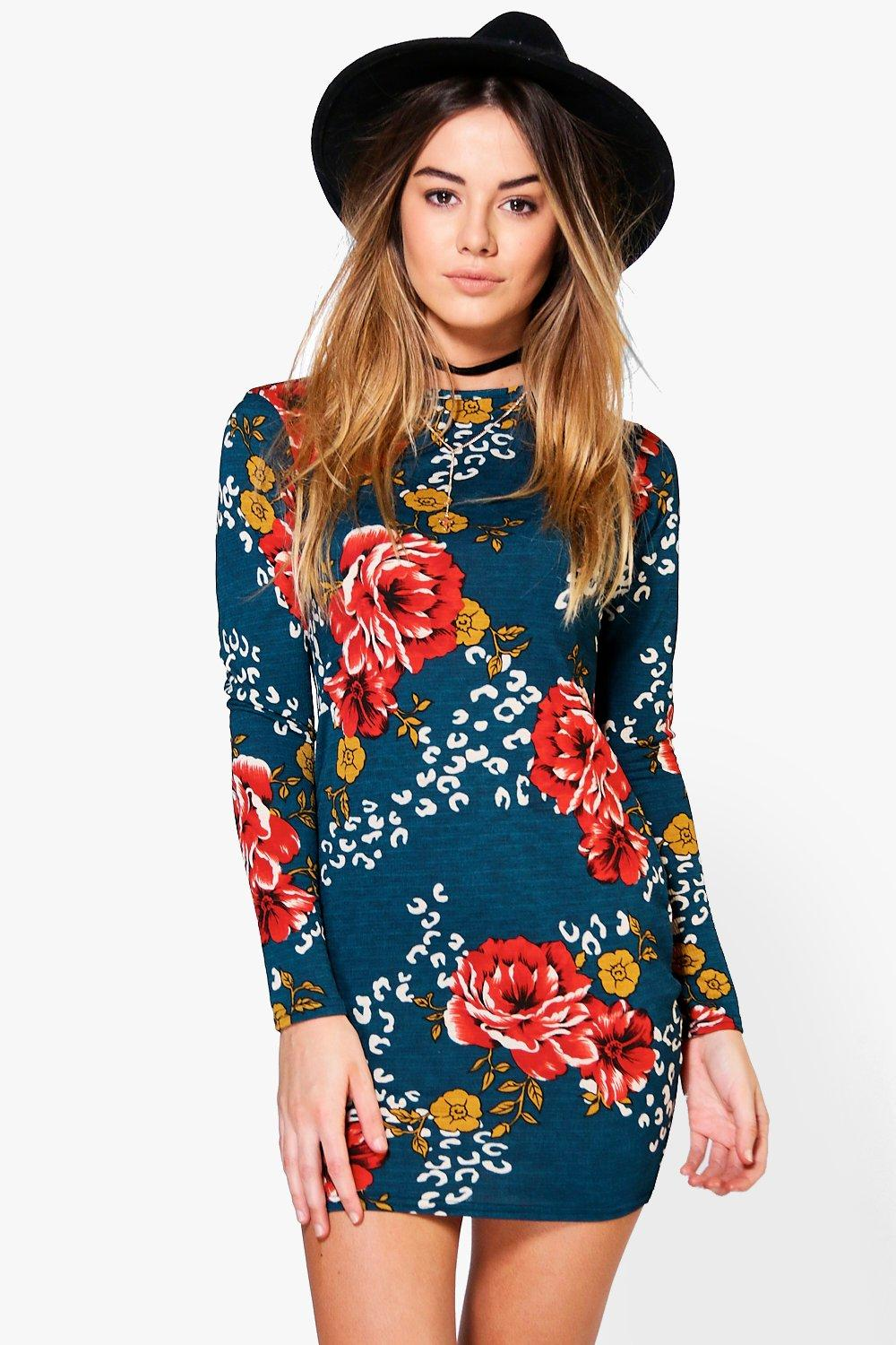 Petite Sheena Floral Long Sleeve Bodycon Dress