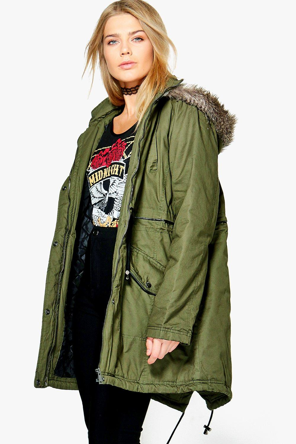 Plus Louisa Parka With Faux Fur Hood