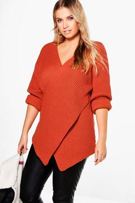 Plus Laura Rib Knit Front Jumper