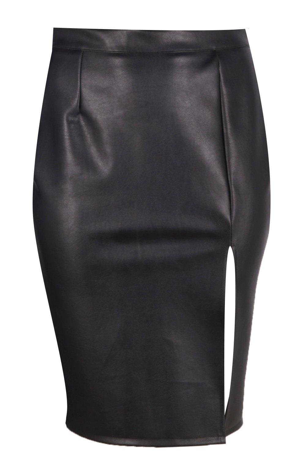 Plus Yas Leather Look Midi Skirt at boohoo.com