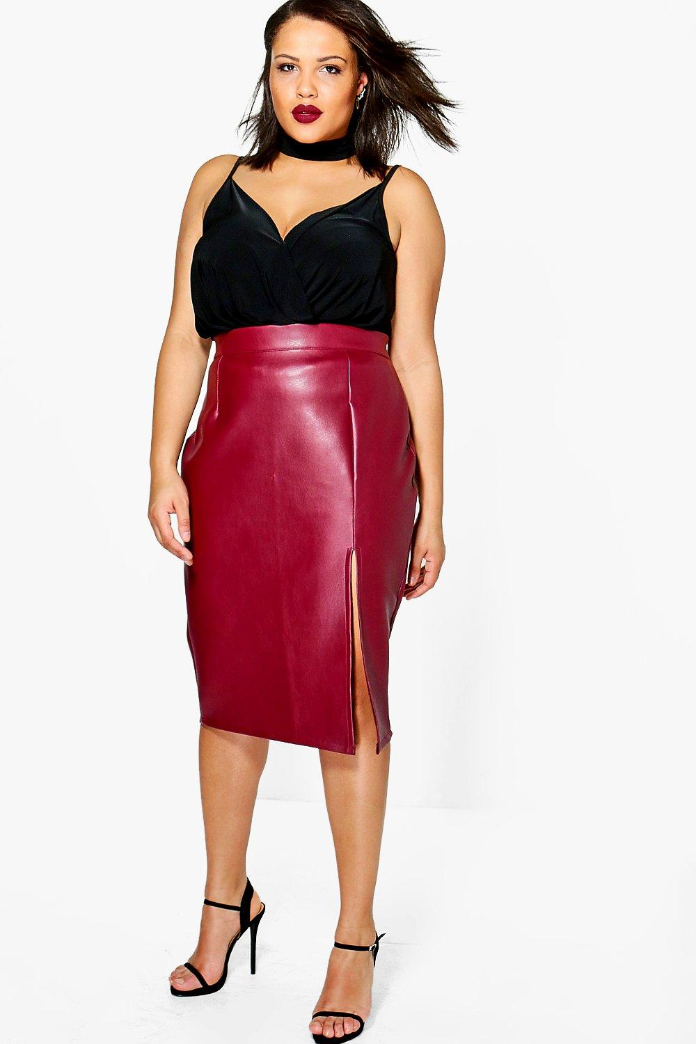 Plus Yas Leather Look Midi Skirt